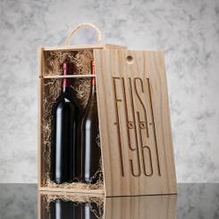 Coffret en bois pour 2 bouteilles de vin couvercle coulissant #2513