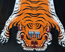 100 knot cutout wool Tiger Rug from Nepal 3x6