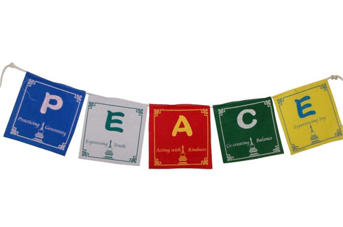 Peace prayer flags set of 5 flags