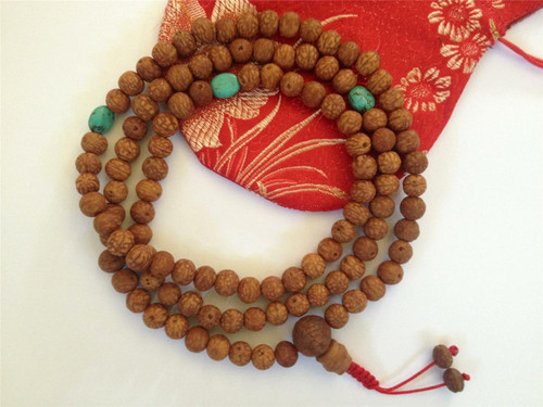 Raktu Seed mala with turquoise spacers