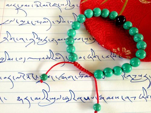Turquoise Wrist mala/ Bracelet with Onyx
