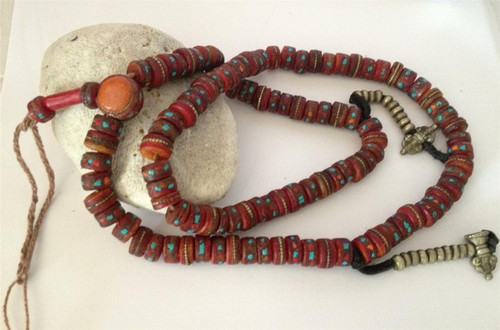 Traditional Tibetan Embedded Yak bone mala with counters