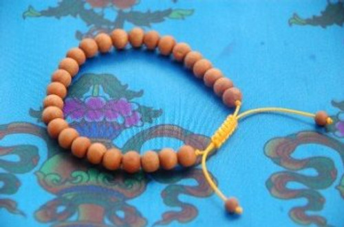 Sandalwood wrist mala/ Bracelet yellow string