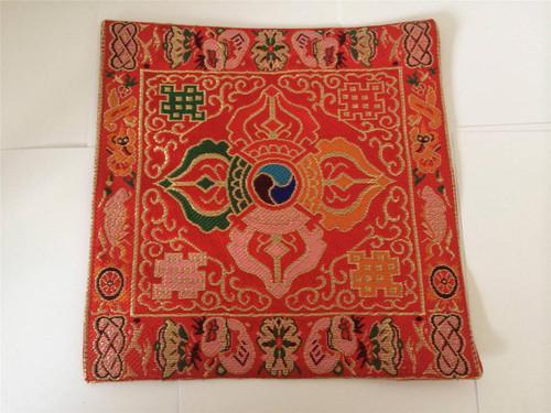 Tibetan Buddhist Puja brocade small silk bell and dorje mat