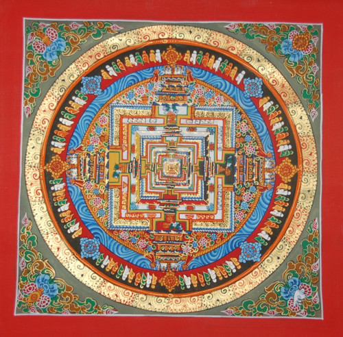 Kalachakra Mandala Thangka Painting red Border