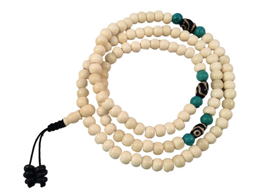 Yak bone mala 108 beads with two eye dzi