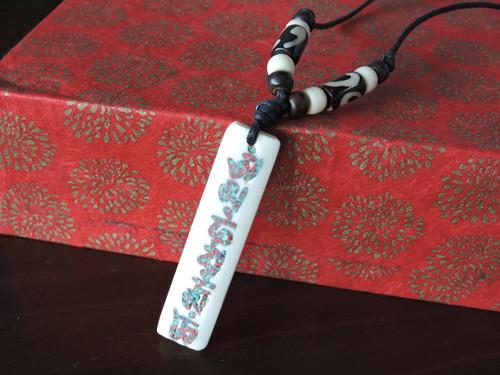 Yak bone Pendant Necklace with Compassionate Buddha mantra