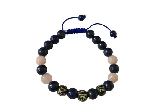 Rose Quartz and Om Mani Padme Hum Wrist Mala Yoga Bracelet