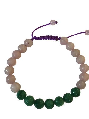 Green Jade and Rose Quartz Wrist Mala Bracelet