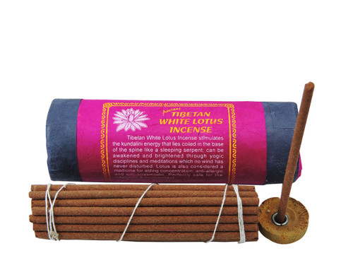 White Lotus Incense with a burner