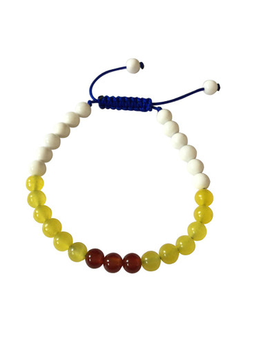 Small Conch Shell Yellow Jade and Carnelian Wrist Mala Yoga Bracelet