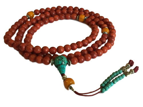 Classic Tibetan Beauty (108 Coral and Turqoise Mala)