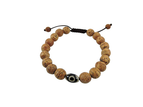 Bodhi seed wrist mala bracelet with Dzi bead