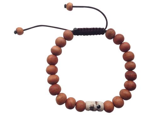 Wood Bead Wrist mala Bracelet with skull bead