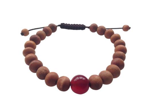 Wood Bead Wrist mala Bracelet with large carnelian spacer