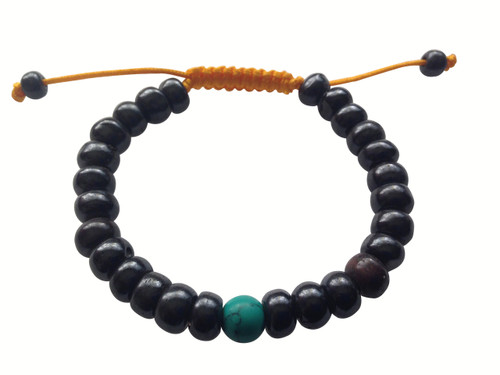 Dark yak bone with turquoise wrist mala