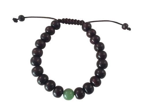 Tibetan Mala Rosewood Wrrist Mala with green jade bead Bracelet for Meditation