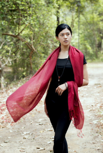 Handmade Pashmina Water Shawl from Nepal many colors (Red)