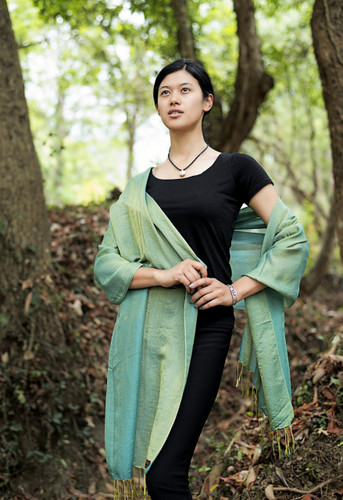 Handmade Pashmina Water Shawl from Nepal many colors (Green)