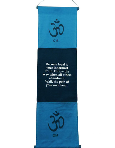 Large Cotton Om Inspirational Yoga Banner Scroll Style Three Color Choice (Turquoise)