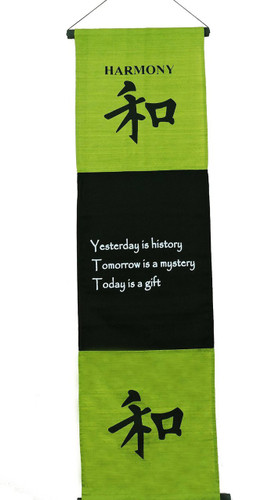 Large Cotton Harmony Inspirational Yoga Banner Scroll Style Three Color Choice (Olive Green)