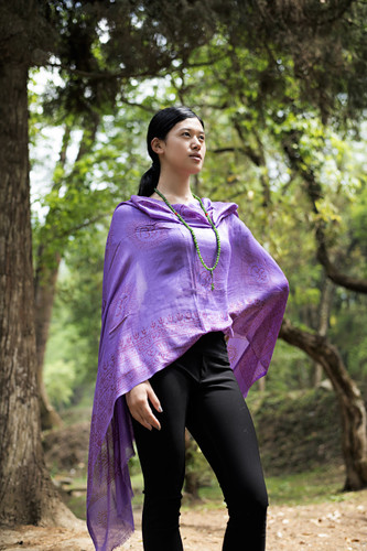 Om Namo Shiva Soft Cotton Shawl/ Scarf purple