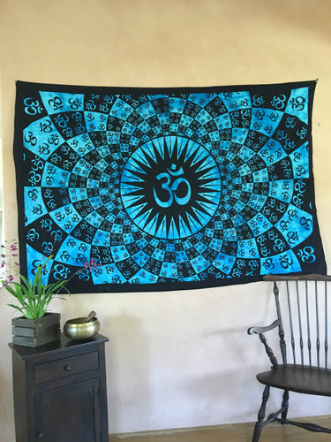 Bursting OM Tapestry- Turquoise