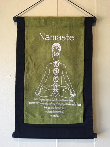 Handmade Namaste Seven Chakra Inspirational Yoga Baner