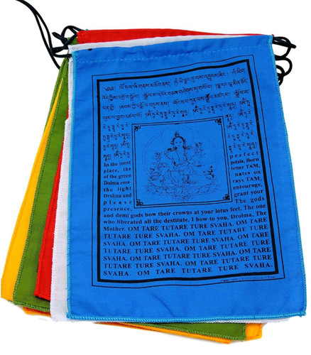 "Handmade Green Tara Tibetan Prayer Flags with English Translation (8""X12"")"