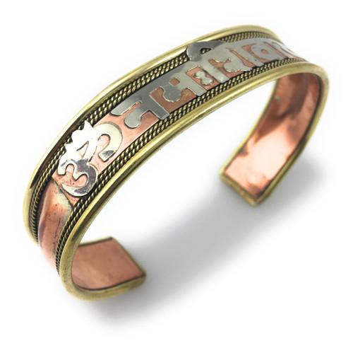 Handmade Om Nama Shivaya Healing Three metal Bracelet