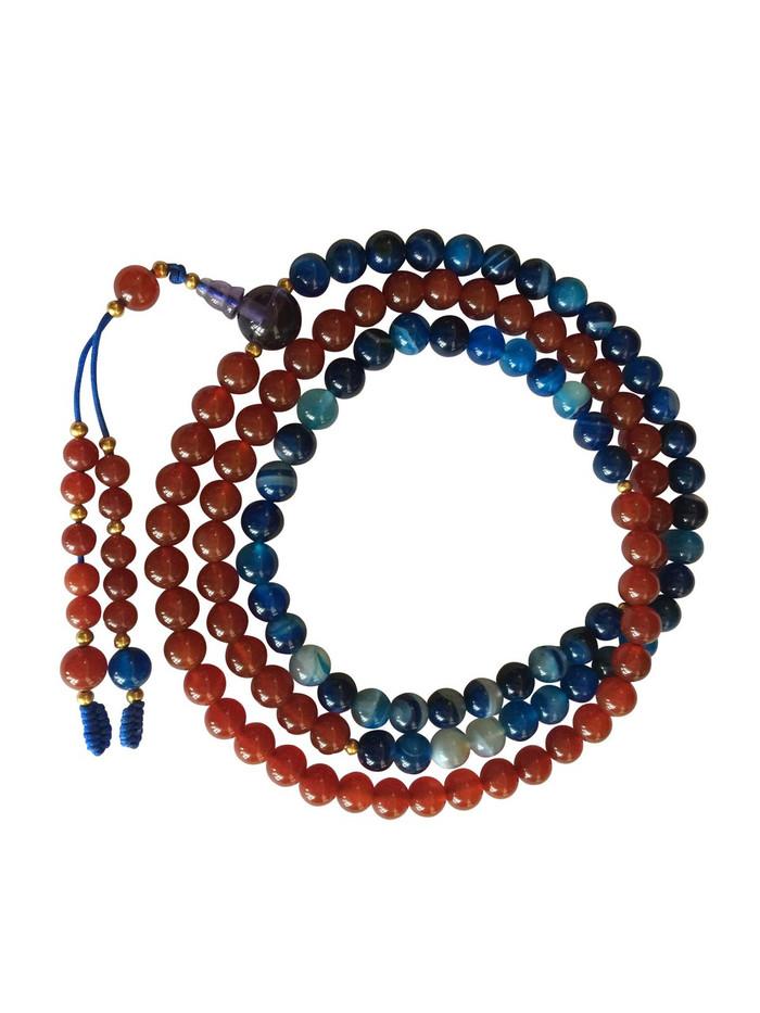 Fire and Ocean (Carnelian and blue agate 108 bead mala)