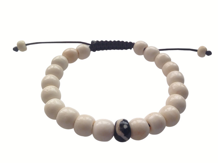 Yak bone Wrist mala with Yin Yang bead Spacer