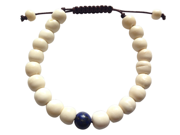 Yak bone Wrist mala with Lapis Lazuli Spacer