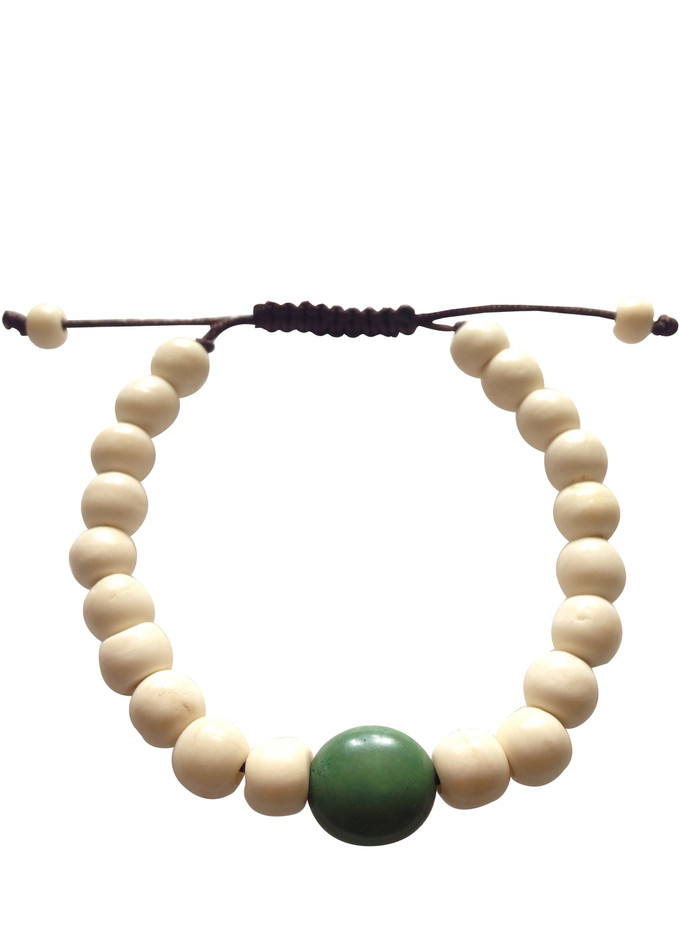 Yak bone Wrist mala with Large Turquoise Spacer