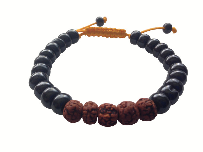 Symbols of the Himalayas Dark Yak with Rudraksha wrist Mala