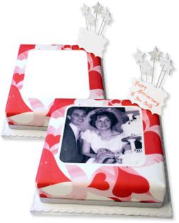 Love Hearts Photo Cake