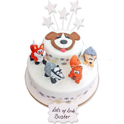 Winter Forrest Friends Cake