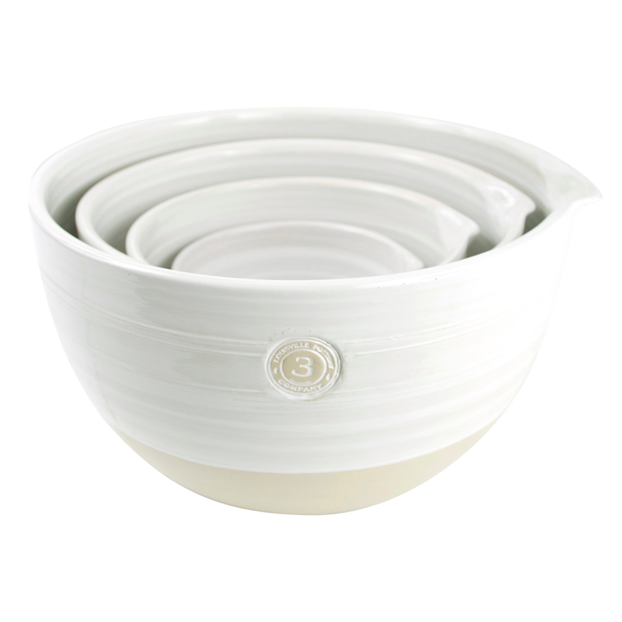 4 piece louisville pottery collection nested mixing bowl set in white stoneware co. Black Bedroom Furniture Sets. Home Design Ideas