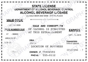 State Alcohol Beverage License