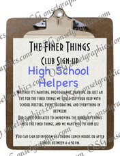 High School Club Sign Up