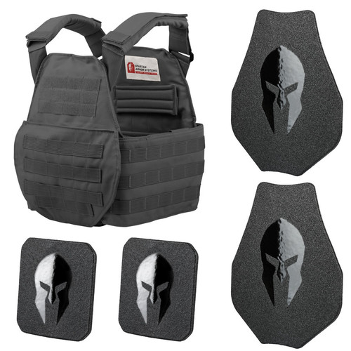 Black Spartan Swimmers Cut carrier and AR550 swimmers cut body armor package