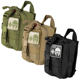 Basic first aid kit available in black, tan, od green for civilians, law enforcement and military