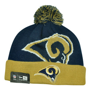 NFL New Era St Louis Rams Woven Biggie 2 Cuffed Beanie Winter Warm Knit Pom Hat