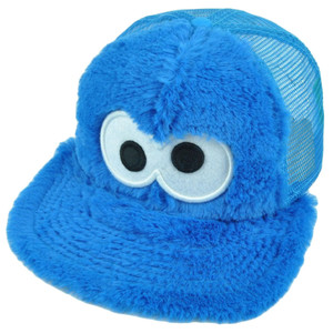 123 Sesame Street Cookie Monster Fuzzy Tv Show Snapback Hat Cap Blue Mesh Youth