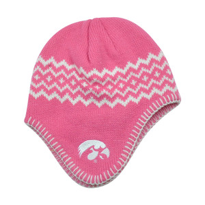 NCAA Iowa Hawkeyes Chalet Ear Flap Toddler Girls Knit Beanie Toque Hat Pink