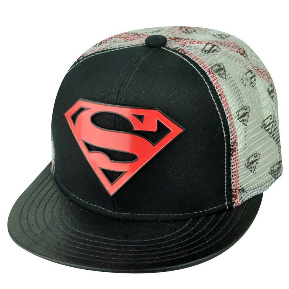 DC Comics Superman Man of Steel Printed Mesh Metal Logo Trucker ... 54e7ce953f21