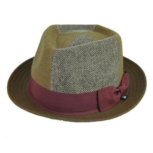 Block Headwear Herringbone Bow Wool Brown Maroon Fedora Trilby Stetson Hat Large