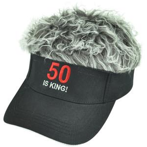 50 Is King Flair Faux Fur Hair Grey Black Adjustable Velcro Hat Visor Sun Cap
