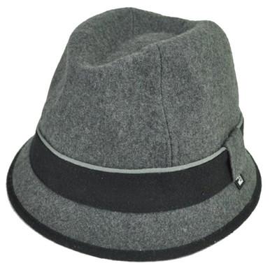4722d84ab5ec1 Block Headwear Brand Wool Plain Band Grey Fedora Stetson Dune Trilby Hat  Medium
