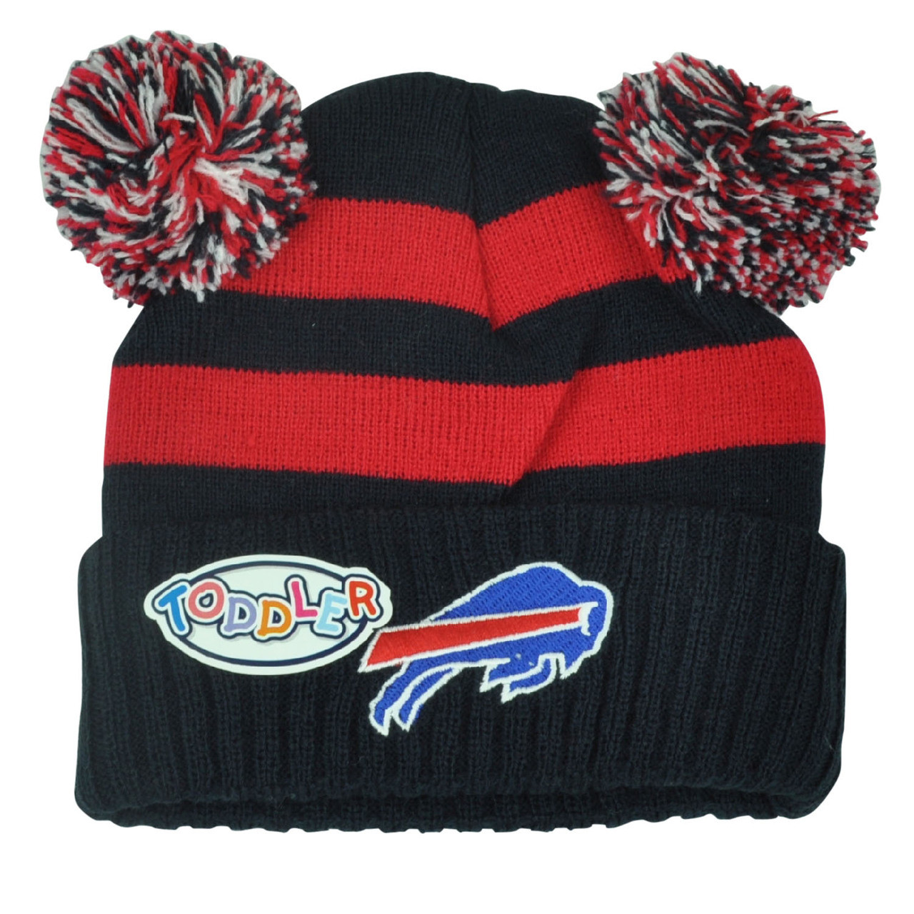 ccd2c91630f NFL Buffalo Bills Pom Pom Ear Cuffed Toddler Striped Knit Beanie ...